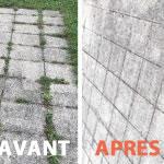dalles d'extérieur : Avant et après nettoyageeau propulsée